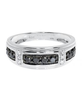 10k White Gold 8mm Black White Diamond Mens Band (0.65 ct)