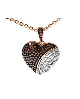 Red/White Diamond Heart Pendant in 10k Rose Gold (0.33ct)