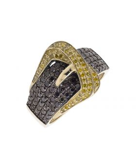 10K Yellow Gold Belt Buckle Black And Canary Diamond Band Ring (1.50ct.)