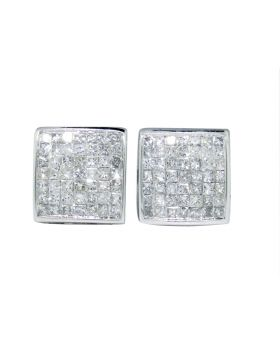Princess Cut Invisible Set Studs in 14k White Gold (.75 Ct)