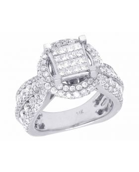 Ladies 14K White Gold Genuine Diamond Princess Engagement Ring 3 2/3 CT