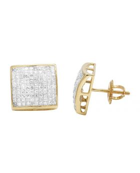 14K Yellow Gold Princess Real Diamond Square Stud Earrings 1.80ct 11MM
