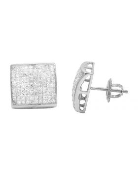 14K White Gold Princess Real Diamond Square Stud Earrings 1.80ct 11MM