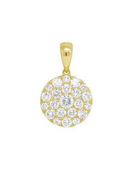 "Ladies Yellow Gold Round Flower Cluster Pendant Set 0.8"" 1.36CT"