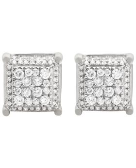 10K White Gold Square Cube Diamond Stud Earrings 11mm 1.35ct
