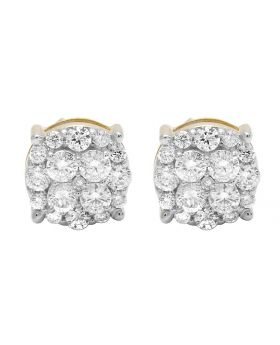 10K Yellow Gold Real Diamond Cluster Prong Round Stud Earrings 1.0ct 8MM