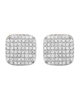 10K Yellow Gold Real Diamond Square Earring Studs .75ct 8MM