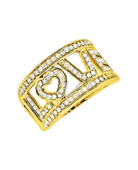 10K Yellow Gold LOVE words initials Diamonds Band Ring 0.75Ct