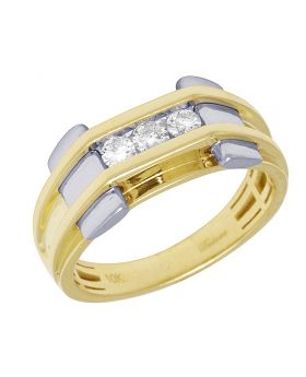 Mens Two Tone Gold Channel Set Pinky Ring 10MM 0.33CT