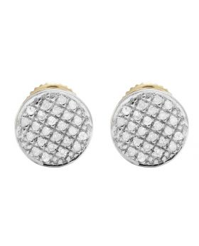 10K Yellow Gold Real Diamond Round Earring Studs .33ct 7MM