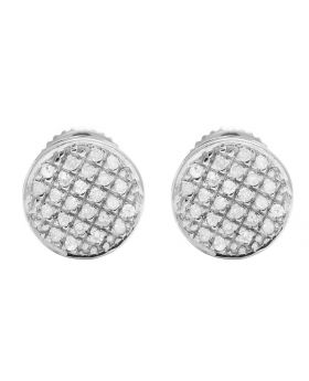 10K White Gold Real Diamond Round Earring Studs .33ct 7MM