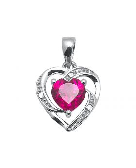 10K White Gold Lab Ruby Heart Pendant (0.012 ct)