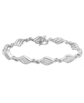 10K White Gold Real Diamonds Ladies Designer Bracelet 0.65ct 7.5""