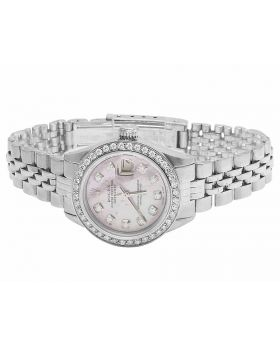 Ladies Rolex Datejust 6917 Pink MOP Dial Stainless Steel Diamond Watch (2.0 Ct)