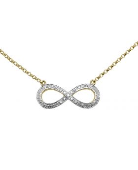 Ladies Infinity Love Sideway 10k Yellow Gold Diamonds Necklace 16in .25ct