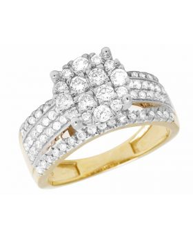 Ladies Real Diamond Round Cluster 10K Yellow Gold Engagement Ring 1.5 ct