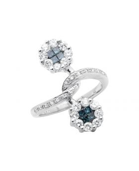 14K White Gold Bypassing Flower Princess/Round Blue and White Diamond Ring (1.25ct.)