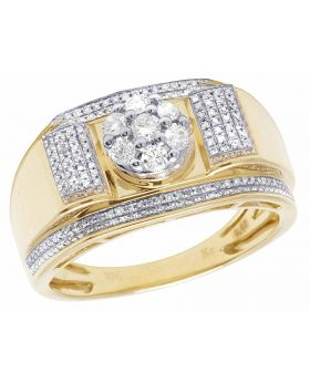 Men's 10K Yellow Gold Real Diamond Cluster Wedding Band Ring 1/2 CT 12MM