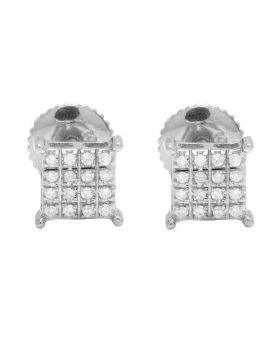 10K White Gold Real Diamond Square Kite Stud Earrings .20ct 6mm