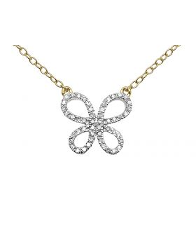 Ladies 14k Yellow Gold Round Diamonds Butterfly Necklace 16in .15ct