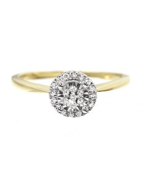 Solitaire Look Halo Engagement Ring (0.11ct)