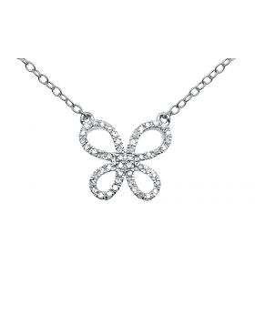 Ladies 14k White Gold Round Diamonds Butterfly Necklace 16in .15ct