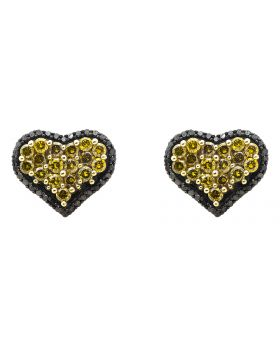 10K Yellow Gold Heart Black and Canary Diamond Stud Earrings (1.10ct.)