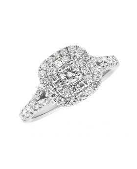 14k White Gold Double Halo Engagement Ring (1.0 ct)