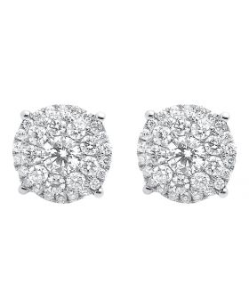9mm Cluster Round Diamond Halo Earrings in 14k White Gold (1.25 ct)