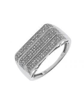 Mens 3 Row Pave Diamond 3 Row Band in White Gold (0.75 ct)