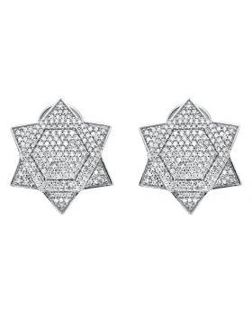 14K White Gold Six Point Star David Diamond Stud Earrings (1.25ct.)