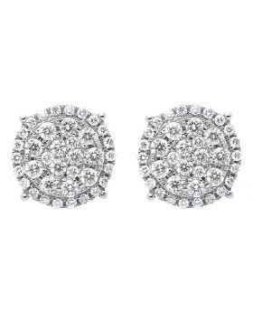12mm Cluster Round Diamond Halo Earrings in 14k White Gold (1.8 ct)