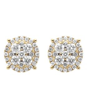 9.5mm Cluster Round Diamond Earrings in 14k Gold (1.85 ct)