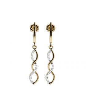 Ladies 10K Yellow Gold Real Diamond Infinity Dangle Earring 0.12ct