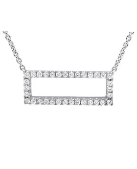 "18K White Gold 3/4 Inch Block Diamond Pendant with 18"" Chain (0.40ct)"