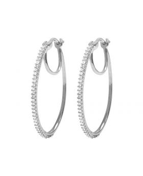 10K White Gold Real Diamond Hoops Earrings .33Ct 1MM