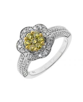 14k White Gold Canary Diamond Flower Ring (1.25 ct)