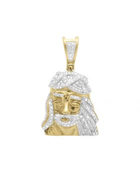 Side Facing Jesus Pendant in Yellow Gold Finish (0.60 ct)