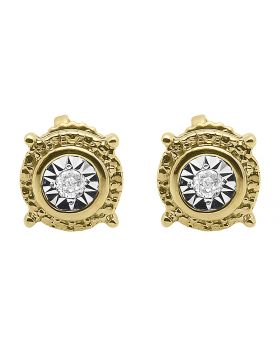 6mm Round Diamond Fanook Studs in Two Tone Silver (0.05 ct)