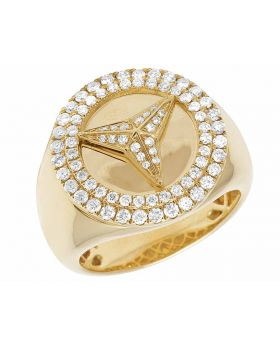 10K Yellow Gold Real Diamonds Mercedes Men's Designer Ring 1 CT 20MM