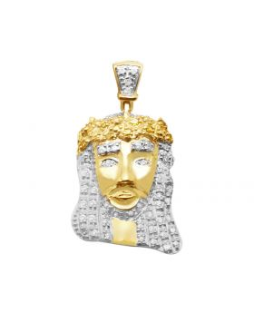 10K Yellow Gold Canary Genuine Diamond Jesus Charm Pendant .25Ct 1""