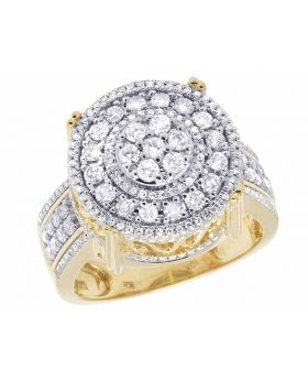 Men's 10K Yellow Gold Real Diamonds 3D Round Ring 1 3/5 CT 18MM