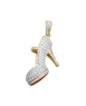 "10k Yellow Gold High Heel Shoe Genuine Diamond Charm Pendant 1.25"" 2 Ct"