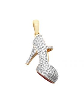 10K Yellow Gold Red Bottom Stiletto Heel Shoe Genuine Diamond Charm Pendant 2ct