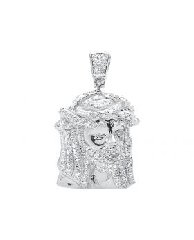 Side Facing Jesus Pendant in White Gold Finish (0.40 ct)