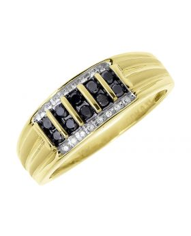 Vertical Row Black Diamond Wedding band in Yellow Gold (0.33 ct)