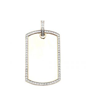 "10K Yellow Gold 1 Row Frame Genuine Diamond dog Tag Pendant 2"" .50ct"