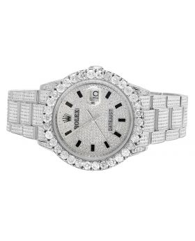 Rolex Datejust Stainless Oyster Perpetual Quickset Full Diamond Watch (10.75 Ct)