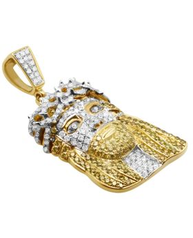 10k Yellow Gold 1.5 Inch 3D Jesus Face Genuine Diamond Pendant 2.1ct