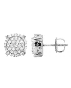 10K White Gold Real Diamond Round Prong Stud Earrings .65CT 9MM